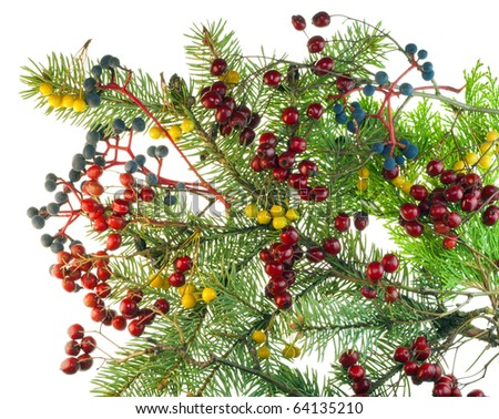 Christmas bouquet from red blue yellow wood berries and for Red and yellow christmas tree