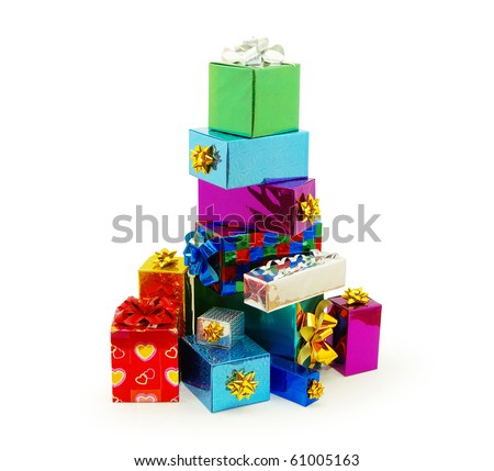 Christmas box gifts with satin bow isolated on white background - stock photo