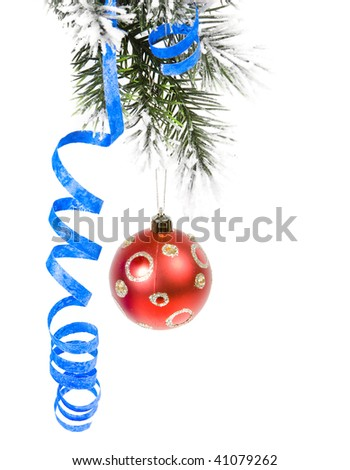Christmas branch with red ball