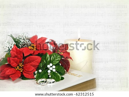 stock photo christmas bridal bouquet and rings on bible