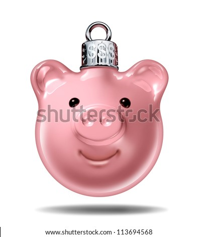 Christmas budget and holiday savings symbol with a piggy bank in the shape of a decorative pine tree ball with silver top and dollar signs embossed as an icon of spending the gift giving season.