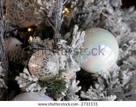 christmas bulb hanging on tree lights. nice background - stock photo