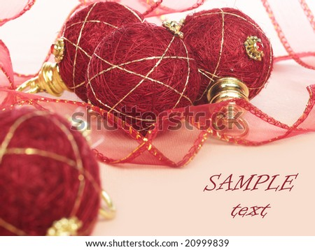 christmas burgundy balls and ribbon with space for text (easy to remove)