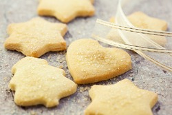 Christmas butter cookies with brown sugar. Symbolic image. Christmas background. Close up.