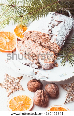 Christmas cake with walnuts and orange peel