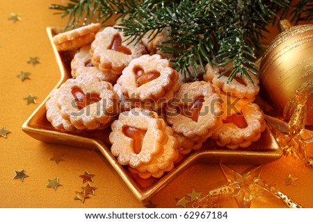 Christmas cakes on brown background