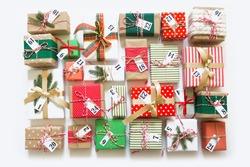 Christmas calendar with gifts for children. Advent calendar.
