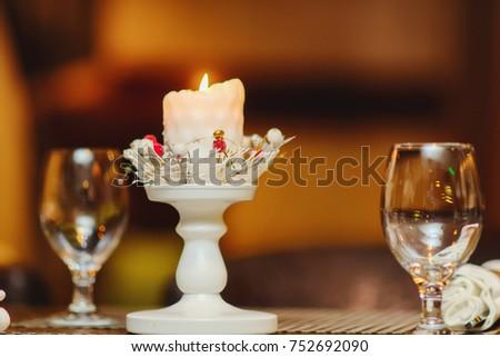 Christmas candle. Christmas still life. candle #752692090