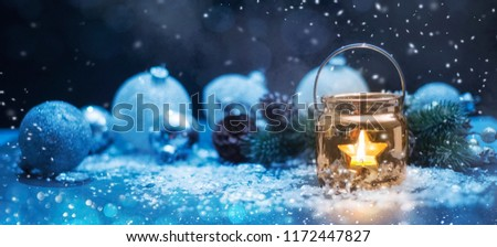 Christmas Candles, Christmas and New Year holidays background, winter season.  #1172447827