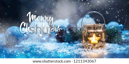 Christmas Candles, Christmas and New Year holidays background, winter season.  #1211343067