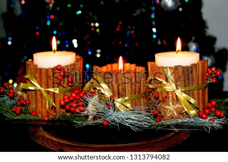 Christmas candles. Christmas candles handmade. Candles with cinnamon. December 31, 2017. Israel. Tel Aviv. #1313794082