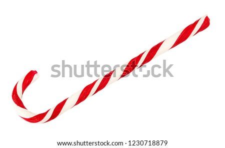 Christmas candy cane isolated on a white background. #1230718879