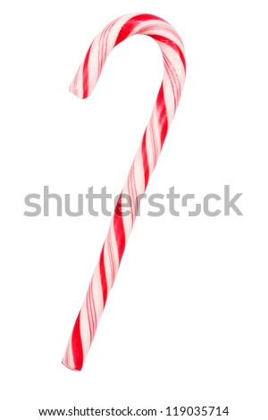 Christmas candy cane isolated on white background