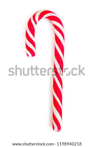 Christmas Candy cane isolated on white Background  for greeting card on Christmas and New Year. Close up #1198940218
