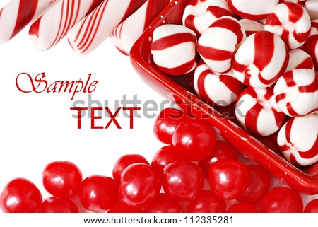 Christmas candy on white background with copy space.