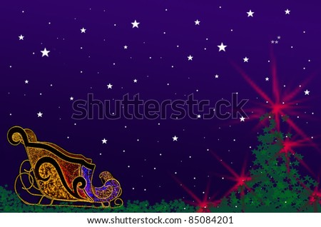 Christmas car and tree background with star