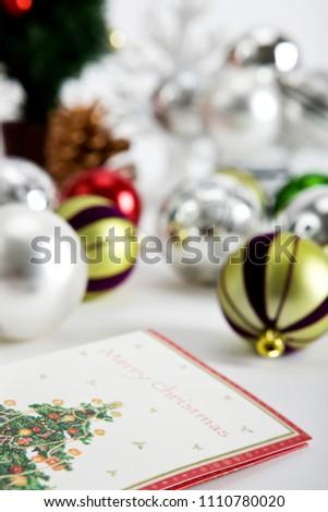 christmas card and christmas ball ornament #1110780020