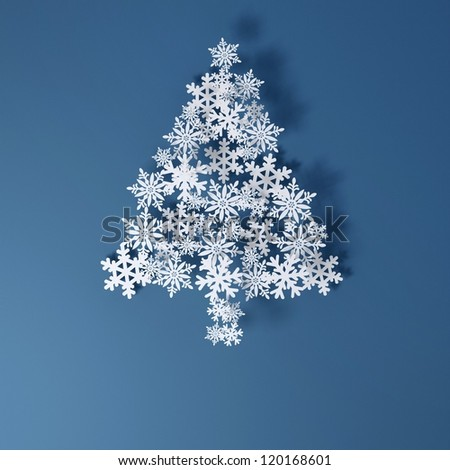 Christmas Card Application from paper snowflakes. Space for text freely. (version on a blue background)