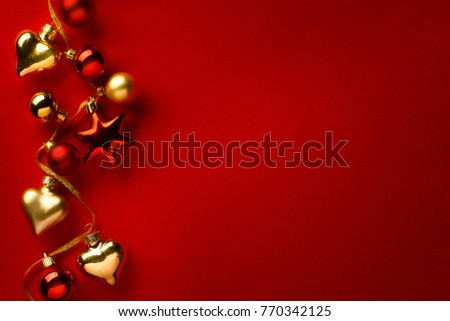 Christmas card background; christmas tree decoration on red background #770342125