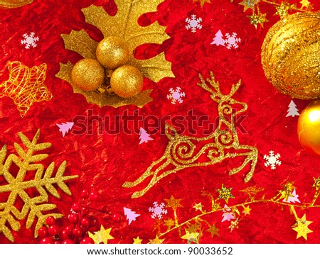 Christmas card background golden and red with baubles stars santa reindeer