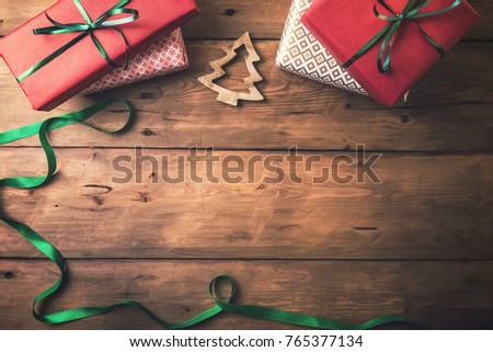 christmas card background. presents and decors with copy space #765377134