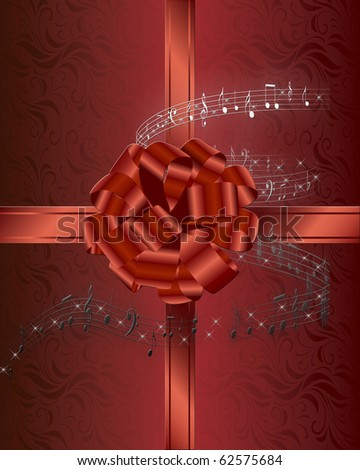 Christmas card background with red ribbon and bow surrounded by musical notes.