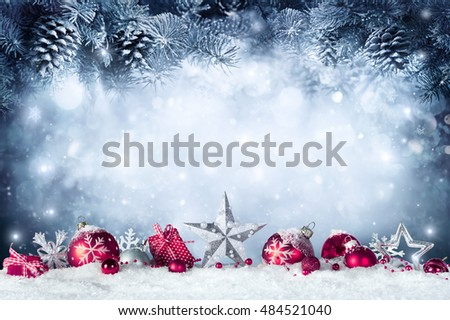 Christmas Card - Baubles And Fir Branch On Snow  - Shutterstock ID 484521040