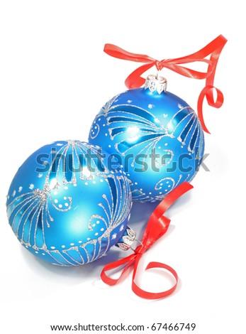 Christmas card.  Christmas Blue Balls on white