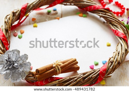 Christmas card. Christmas decor on the white wooden background. #489431782