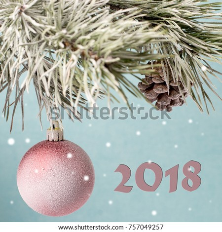 Christmas card. Christmas toy and a bump on fir-tree branches. #757049257