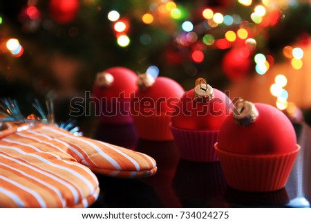 Christmas card. Christmas tree balls in cupcake cups  #734024275