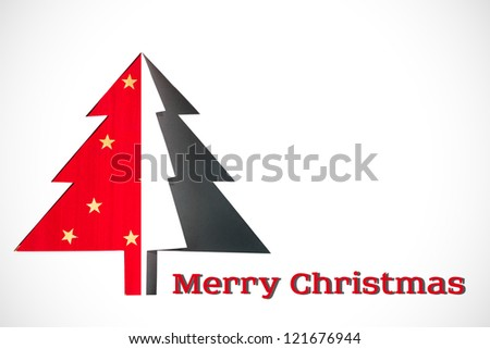 Christmas card - Christmas tree made of paper, white background with vignette