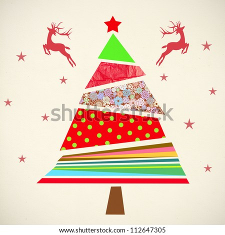 christmas card ,christmas tree ,paper art