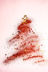 Christmas card concept with confetti on pastel background with copy space