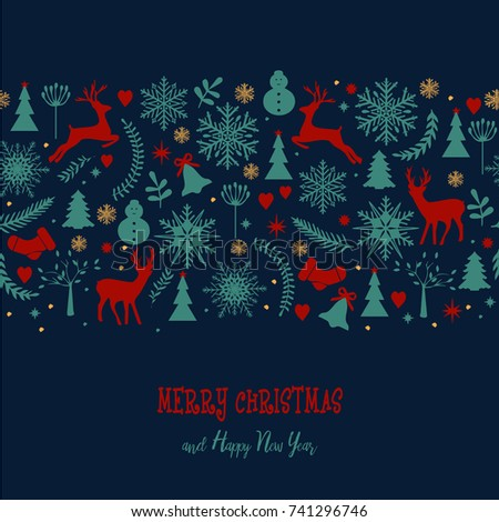 Christmas card. Decorative winter background with Christmas elements. Raster copy. Christmas decorations. #741296746