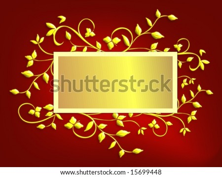 Christmas card design of gold holly leaves on vines with centered copy space in gold foil effect on red mesh background.