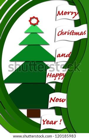 christmas card design with green layers fir tree and greetings