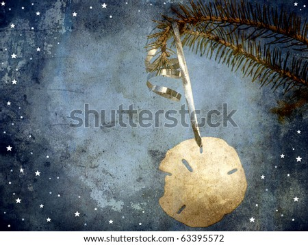 Christmas card featuring a beautiful sand dollar hanging from a pine branch with whimsical designs and copy space.  Grunge textured.