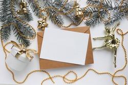 christmas card for ballerina. ballerina figurine on christmas tree
