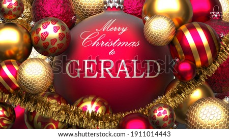 Christmas card for Gerald to send warmth and love to a family member with shiny, golden Christmas ornament balls and Merry Christmas wishes for Gerald, 3d illustration Stockfoto ©
