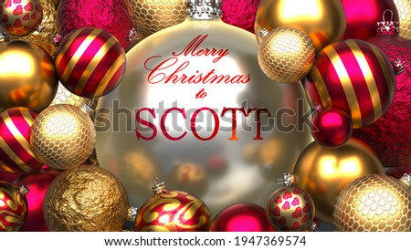 Christmas card for Scott to send warmth and love to a dear family member with shiny, golden Christmas ornament balls and Merry Christmas wishes to Scott, 3d illustration ストックフォト ©