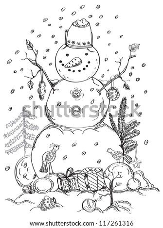christmas card for xmas design with balls, bird, gift and hand drawn snowman