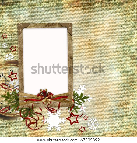 Christmas card in ancient style for a photo, congratulations and greetings (1 of set)