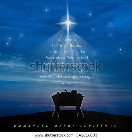 christmas card nativity scene of baby jesus in the manger with scriptures in christmas tree - Christmas Scriptures