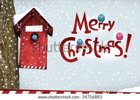 Christmas  card of  bird winter  snow - stock photo