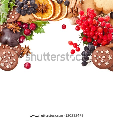 christmas card of cookies , berries , fruits , different xmas ingredients and spices isolated on a white background