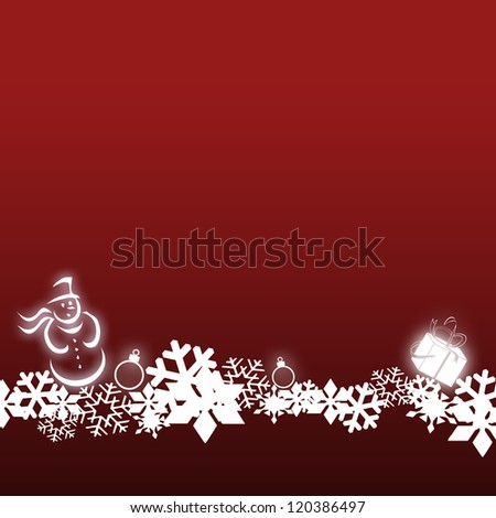Christmas card on a red background with snowflakes, a bright white snowman and a symbolic present