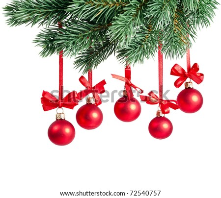 Christmas card red balls isolated on white