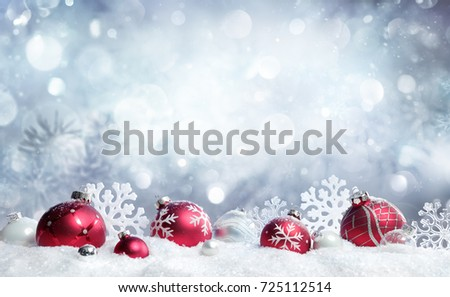 Christmas Card - Red Baubles And Snowflakes With Snowfall  - Shutterstock ID 725112514