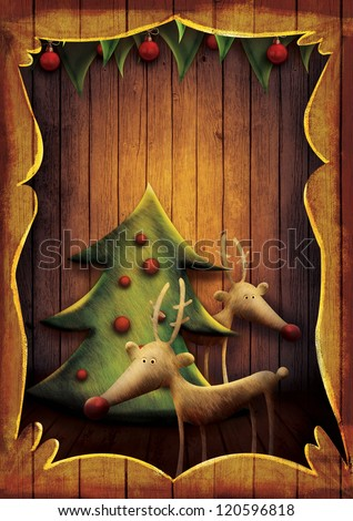 Christmas card - Reindeer with tree in wooden frame. Cartoon childish deer with Xmas tree on wooden background with frame. #120596818